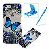 TPU Case for iPhone 7,Clear Case for iPhone 8,Herzzer Ultra Slim Stylish [Colorful Pattern] Soft Silicone Gel Bumper Cover Flexible Crystal Transparent Skin Protective Case