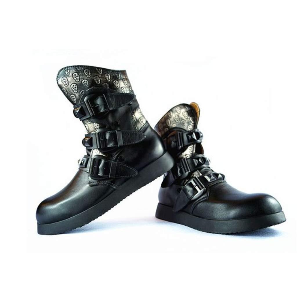 Herren Martin Stiefel Aus Echtem Leder Leder Leder Mode Wasserdichte Uniform Stiefel Schädel Punk Motorrad Stiefelies Steampunk Schuhe Lederstiefel,schwarz,45 0da46b