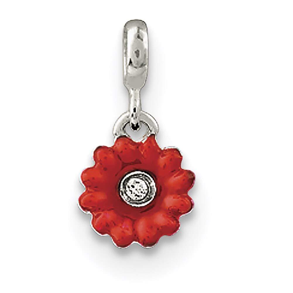Lex /& Lu Sterling Silver Red Enameled Flower w//CZ Enhancer-Prime