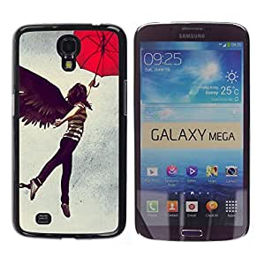 Stuss Case / Funda Carcasa protectora - Girl Angel Wings Dark Black Umbrella Woman Art - Samsung Galaxy Mega 6.3 I9200 SGH-i527