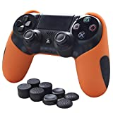 Skin Compatible for PS4 Controller Grips Pandaren Soft Silicone Thicker Half Cover for PS4 /Slim/PRO Controller (Orange Skin X 1 + FPS Pro Thumb Grip X 8)
