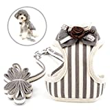 SELMAI Dog Harness and Leash Set for Small Dogs Cats Mesh Lining Stripe Flower Bowknot No Pull Pet Vest Harness for Puppies Easy on Collar for Girls Chihuahua Dachshund Walking Outdoor,Gray,S
