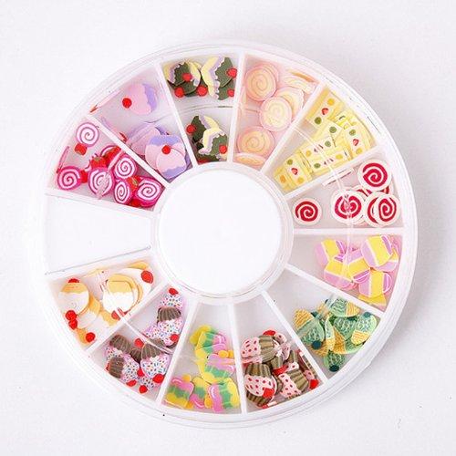 3D Fimo Clay Slice Cup Cake Shape Nail Art Tips Uv Acrylic Decorating Wheel