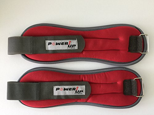 Ankle Wrist Weights Set One Lb Each Men Women | Durable Neoprene Cover with Adjustable Velcro Strap by PowerUp Fitness