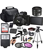 """$829 » Canon EOS M50 Mark II Mirrorless Digital Camera (Black) with 15-45mm STM Lens + Deluxe Accessory Bundle Including Sandisk 32GB Card, Flash, Grip Multi Angle Tripod, 50"""" Tripod, Filters and More."""