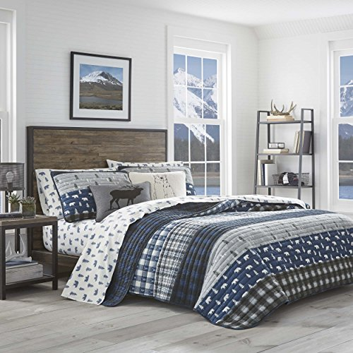 Eddie Bauer Blue Creek Plaid Quilt Set, Full/Queen, Navy