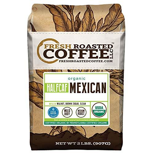 Organic Mexican Half Caff Coffee, Whole Bean Bag, Fresh Roasted Coffee LLC. (2 LB.)