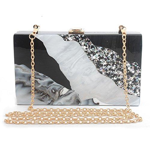 FZHLY chaîne marbre et de noir d'épaule en soirée embrayage rayé chaîne de dîner acrylique qualité Black white blanc haute Femmes sac pack TqwrnvYTx