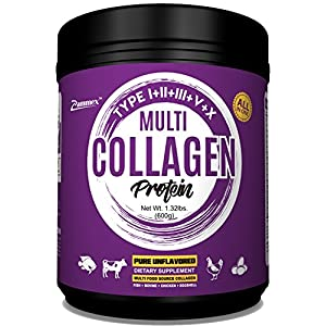 Multi-Collagen Protein Powder 21oz Best Value - High-Quality Blend of Grass-Fed Beef, Wild Fish, Patent Formula-TendoGuard™️-Chicken, Eggshell Collagen Peptides, Providing Type I, II, III, V and X.