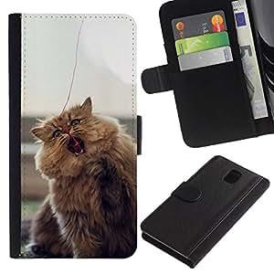 // PHONE CASE GIFT // Moda Estuche Funda de Cuero Billetera Tarjeta de crédito dinero bolsa Cubierta de proteccion Caso Samsung Galaxy Note 3 III / CUTE FURRY FLUFFY CAT /