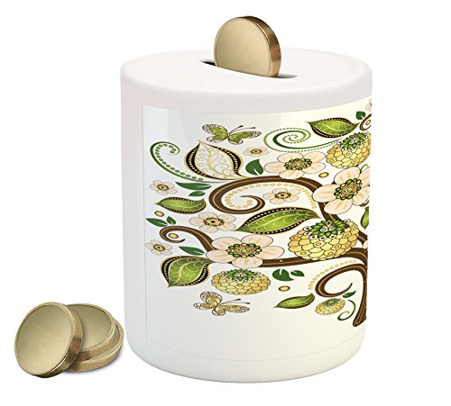 Lunarable Floral Piggy Bank, Oriental Tree of Life Inspired Design Swirled Leaf Branches and Butterflies Print, Printed Ceramic Coin Bank Money Box for Cash Saving, Multicolor