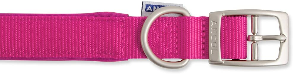 Ancol Padded Nylon Lead Raspberry 1mx19mm