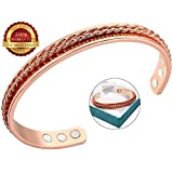 BisLinks® 99.9% Solid Copper Magnetic Health Bracelet with Strong 6 Magnets (3000 Guass Each) for Arthritis Pain Relief Healing Magnet Therapy & Wrist Bracelet Double Twisted Rope Energy Increased