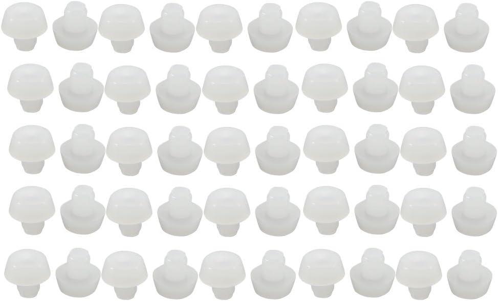 sourcing map 50 unids 6 mm de Goma de Color Blanco tap/ón Redondo Tapa de la Silla de los Muebles Cubre el Protector