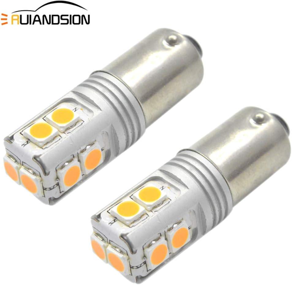 Ruiandsion BAY9S 2 bombillas LED Canbus H21W 12-24V super brillante 3030 10SMD Chipset amarillo foco LED para luz de marcha atrás del indicador del coche, no polaridad