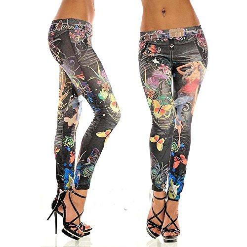 Noir Leggings noir Mince Neuf Imprimer Stretch Femmes Et Printemps Papillon Jeans t Imitation xPPq7C8