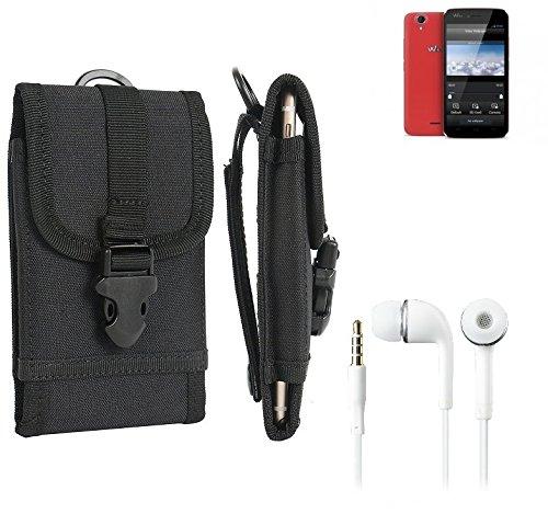 bolsa del cinturón / funda para Wiko Birdy, negro + Auriculares | caja del teléfono cubierta protectora bolso - K-S-Trade (TM)