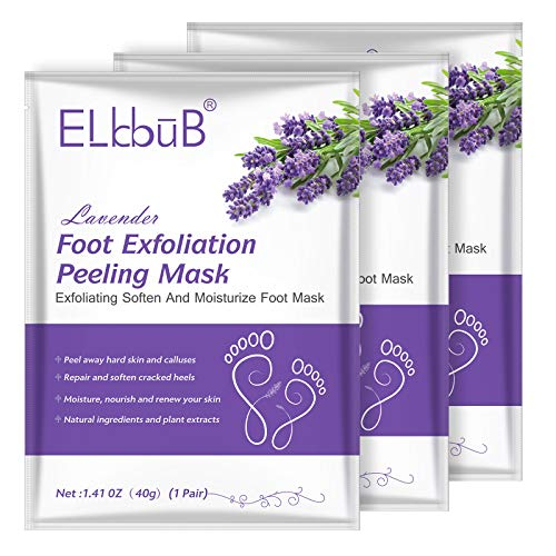 Foot Peel Mask - (3 Pack) Peeling Away Calluses and Dead Skin Cells - Exfoliating Foot Mask, Baby Soft Smooth Touch Feet-Men Women (lavender)