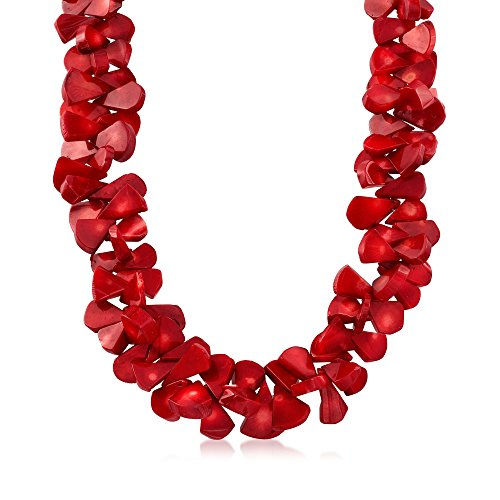 Ross-Simons Coral Bead Cluster Necklace With Sterling Silver