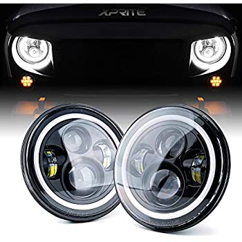 For Hummer H1 H2 Led Headlight Lada Niva 80w 60w 7 Inch Led Headlights Angel Eye Drl Amber Turn Signal For Jeep Wrangler Jk Lamp Keep You Fit All The Time Car Light Assembly