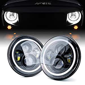 Xprite 7 Quot Inch 80w Jeep Wrangler Led Headlights Cree Led
