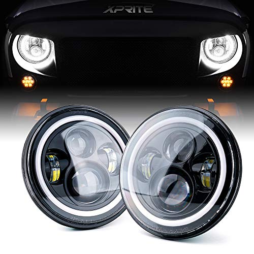 Xprite 7' Inch LED Halo Headlights for Jeep Wrangler JK TJ LJ 1997-2018(DOT Approved),CREE LED Chip, 80W 9600 Lumens Hi/Lo Beam with Halo Ring Angel Eyes DRL