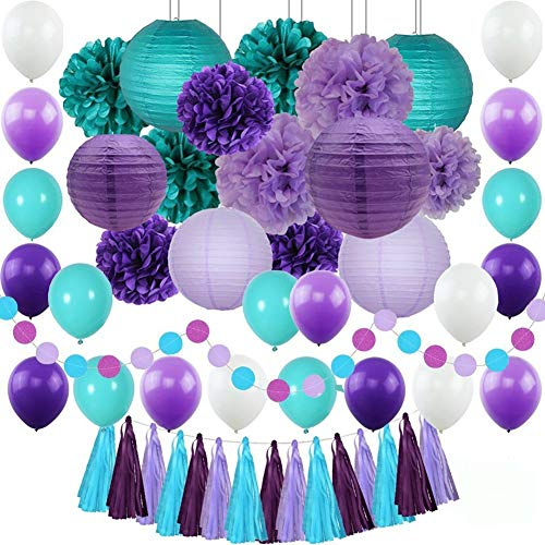 Mermaid Party Supplies Party Decorations Paper Pom Poms Lanterns Purple Balloons for Birthday Party,Baby Shower,Bridal Shower 71 Pack