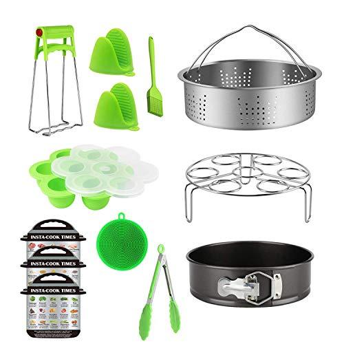 13 Piece Accessories Set Compatible with Instant Pot For 5 6 8Qt,Instant pot Pressure Cooker with Steamer Basket,Egg Steamer Rack,Egg Bites Molds,Non-stick Springform Pan,Kitchen Tongs