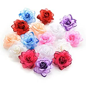 Fake flower heads in bulk wholesale for Crafts Silk Rose Flowers Head Artificial Flowers for Birthday Wedding Home Party Decoration & Wedding Car Corsage Decoration 30PCS 4.5cm 115