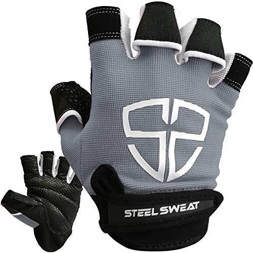 Steel Sweat Workout Gloves - Best for Gym, Weightlifting, Fitness, Training and Crossfit - Made for Men and Women who Love Weightlifting & Exercise - RUE (Gray, XX-Large)