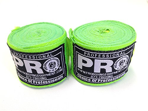PRO Superflex Wrist Elastic Mexican Style 180 Inch Hand Wraps (Apple Green)