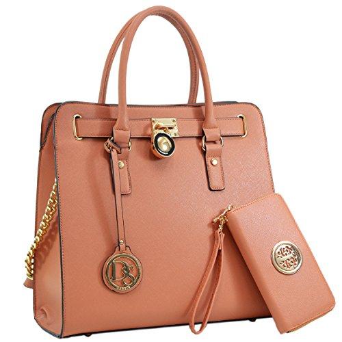 DASEIN Fashion Top Belted Tote Satchel Designer Padlock Handbag Shoulder Bag for Women (2553w-brown)