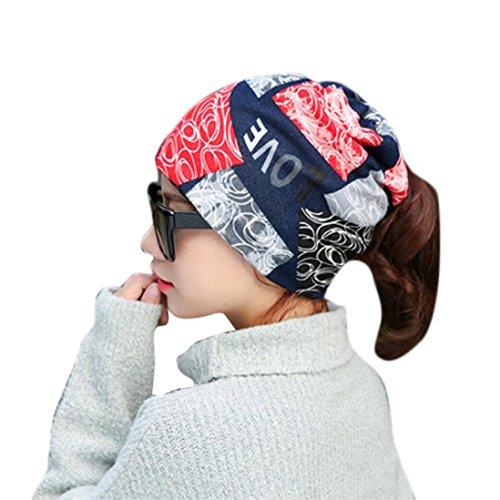 Sikye Women Stretchy Printing Turban Head Wrap Band Bandana Pleated Caps (Navy)