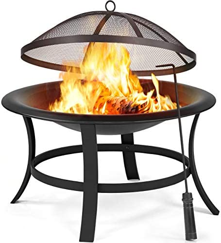 YAHEETECH 29in Fire Pits Outdoor Wood Burning Round Fire Pit Wood Charcoal Burning Fire Bowl