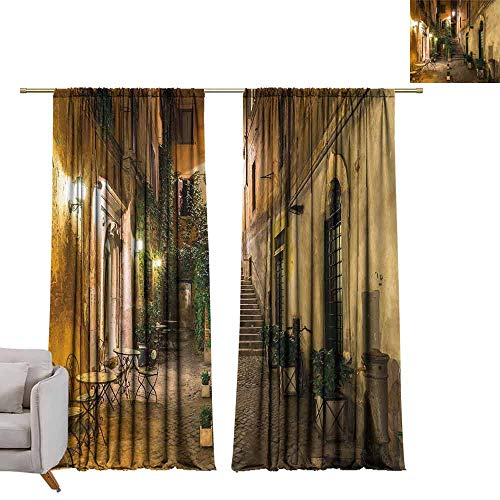 Andrea Sam Navy Curtains Italian Decor,Old Courtyard in Rome Italy Cafe Chairs City Ambience Houses Street,Orange Brown Green Window Curtain for Living Room,W108 x L108 inch