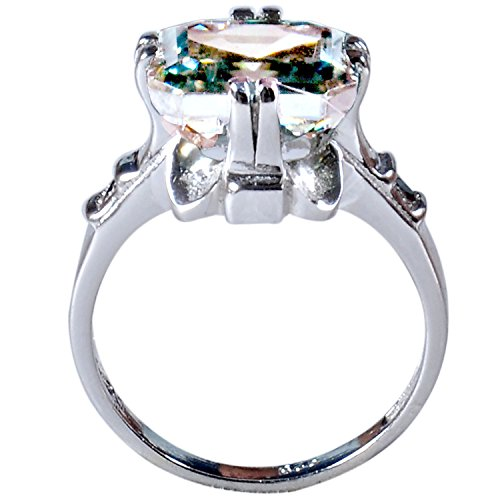AJEWELS Moissanite Silver Plated Engagement Ring [4.51 Ct, I1 Clarity, Blue Green Color, Size 7] by AJEWELS (Image #1)