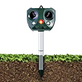 Ohuhu Motion Activated Waterproof Cat Repellent, Newest Solar Powered Ultrasonic Animal and Pest Repeller Outdoor Repellent for Dog, Cat, Bird, Squirrel, Rat, Vole, Raccoon, Fox, Rodent, etc