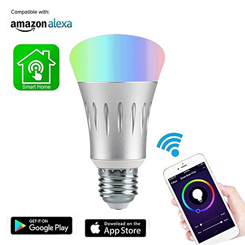 Smart LED Bulb, GOXMGO Multicolored WiFi Smart Light Bulb 60W Equivalent(7W) Work with Amazon Alexa Google Home, No Hub Required, Remote Control Dimmable via Free App for iPhone Android