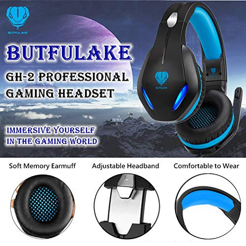 BUTFULAKE GH-2 Gaming Headset for Xbox One with Stereo Surround Sound, PS4 Headset with Noise Canceling Mic & LED Light, Over Ear Gaming Headphones for PC, Nintendo Switch, Mac, Laptop, Blue