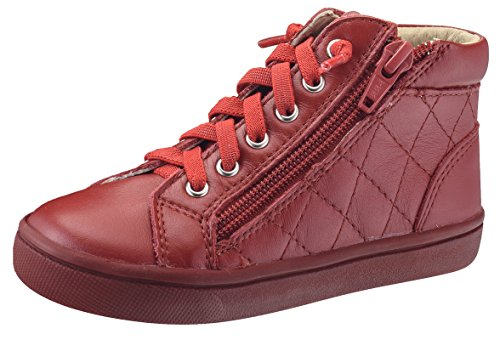 Leather Sole Stitch (Old Soles Boy's and Girl's Eazy-Q Red Quilt Stitch Leather High Top Lace Up Side Zipper Side Sneaker 31 M EU/13.5 M US Little Kid)