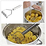 Fan-Ling Stainless Steel Wave Shape Potato Masher Tool,Stainless Steel mesh, Easy to use and Clean