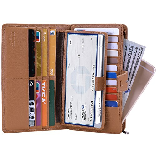 (Itslife Women's Big Fat Rfid Leather wallet clutch organizer checkbook holder (Light Brown))