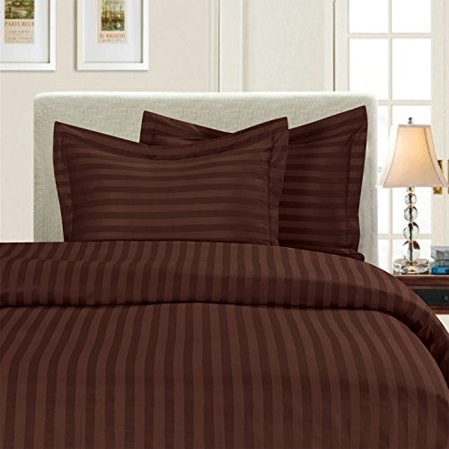 (Elegant Comfort Silky-Soft 1500 Thread Count Egyptian Quality Wrinkle-Free 3-Piece Duvet Cover Set, King/Cal-King, Chocolate Brown)