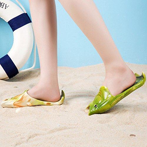 Hallowmas Trucco Simulazione Pantofole Di Pesce Sandali Coordinati Per La Famiglia Scarpe Da Spiaggia Infradito Per Donna Uomo Bambino Verde