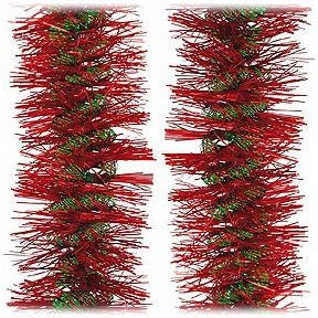 (F.C. Young 12' Luscious Red With Green Spiral Christmas Tinsel Garland - Unlit)