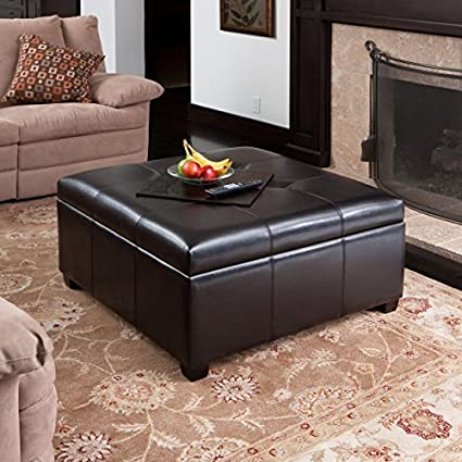 Merveilleux Patsy Espresso Tufted Leather Storage Ottoman