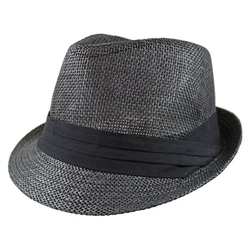 Gelante Summer Fedora Panama Straw Hats with Black Band (Large/X-Large, Black)