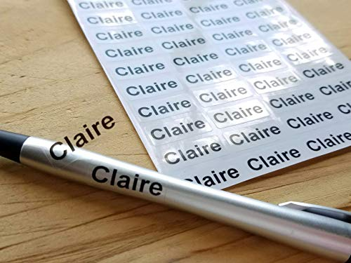 144 Clear Transparent Small Name Stickers -Daycare Labels- Kids labels-  Small Size- Customized Labels - Waterproof Labels