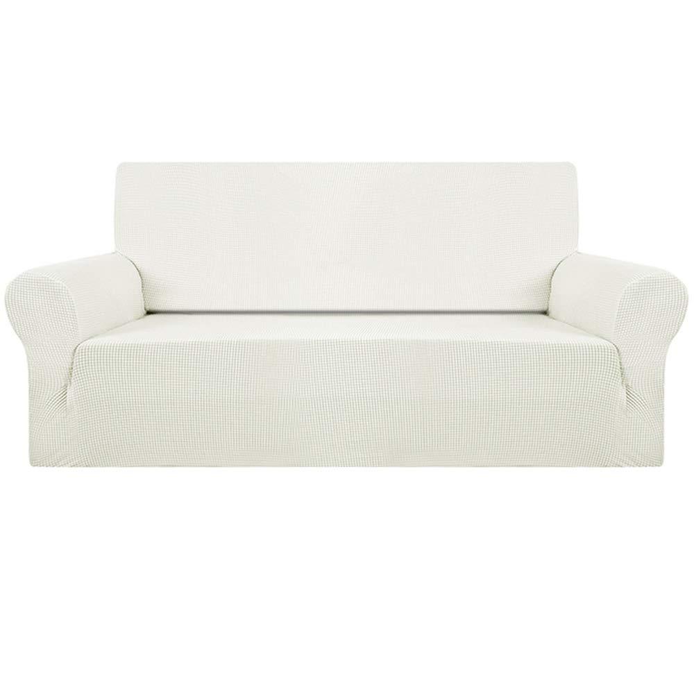 FlowersSea Fundas de sofá de Esquina de 1/2/3 plazas, de fácil Ajuste, de poliéster, Elastano, elástico, Funda de sofá, Blanco Marfil, 3seat