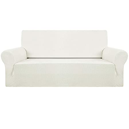Sofa Covers 1/2/3 Seater Corner Sofa Protector Easy Fit Polyester Spandex  Elastic Fabric Stretch Couch Slipcover (Ivory White, 3seat)